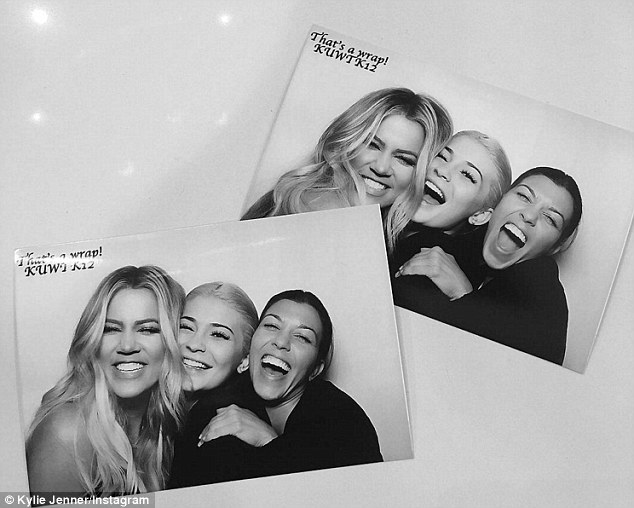 Happy: Sisters Khloe Kardashian, Kourtney Kardashian and Kylie Jenner shared snaps to their Instagram from the wrap party for season 12 of Keeping Up With The Kardashians on Tuesday