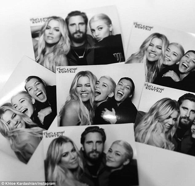 Strike a pose: The trio of sisters, who were joined by mom Kris Jenner as well as Scott Disick, grinned ear to ear in candid photo booth shots; Khloe, Kourtney and Kylie pictured with Scott
