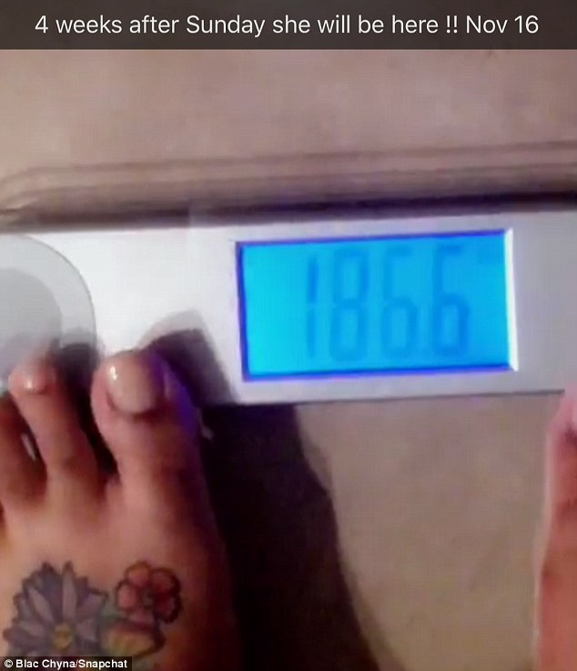 Keeping healthy: Pregnant Blac Chyna revealed on her Snapchat Tuesday that she is 186.6 pounds while just one month away from her due date