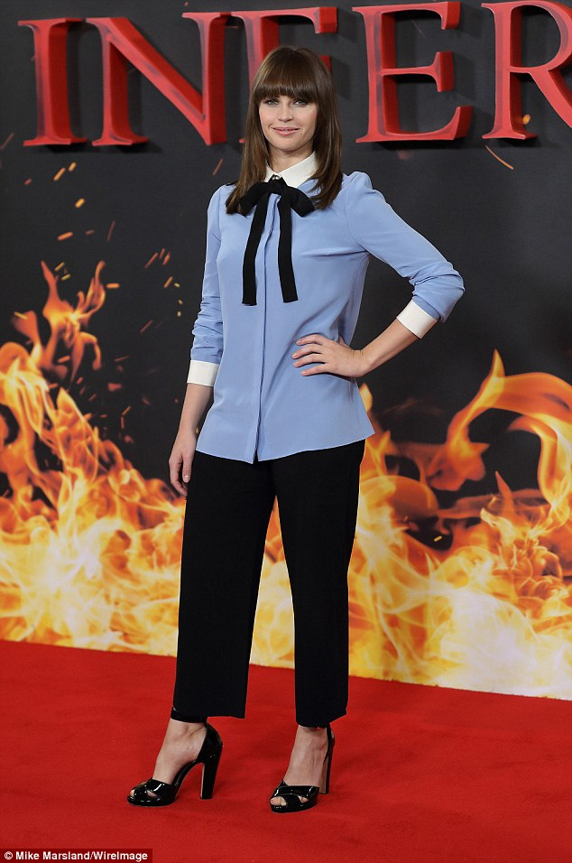Red carpet glamour: Felicity Jones kept things sophisticated at the red carpet photocall for Inferno on Wednesday afternoon