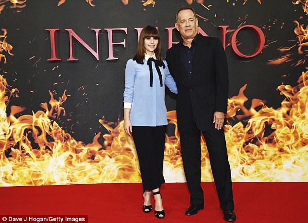 On-screen duo: Felicity was accompanied by leading man Tom Hanks, in London