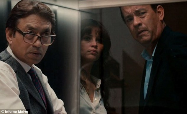 Escape: Felicity stars asDr. Sienna Brooks alongside Tom Hanks' characterRobert Langdon (right) as they try to evade a man hunt