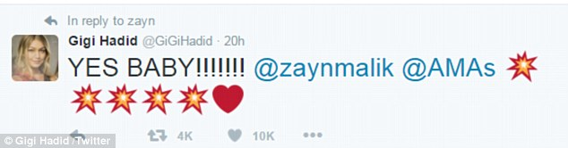 Delighted:The Los Angeles based supermodel, 21, congratulated former One Direction star Zayn on Twitter while travelling to Dubai for a modelling assignment, writing ¿YES BABY!!!!!!! @zaynmalik @AMAs¿