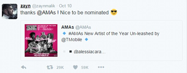 Honoured:Taking to his own Twitter account shortly after the nominees were announced, Zayn wrote ¿Thanks @AMAs! Nice to be nominated.¿