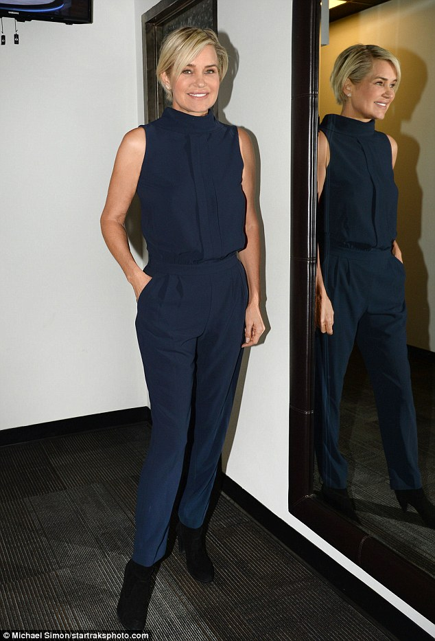 Evergreen: Yolanda's progress has definitely shown in her appearance as she looked absolutely fantastic in a sleeveless navy jumpsuit with black suede booties