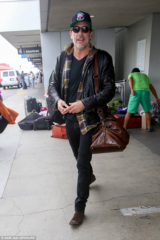 On his way: Jeffrey Dean Morgan was spotted leaving the terminal at LAX after jetting in from New York on Tuesday