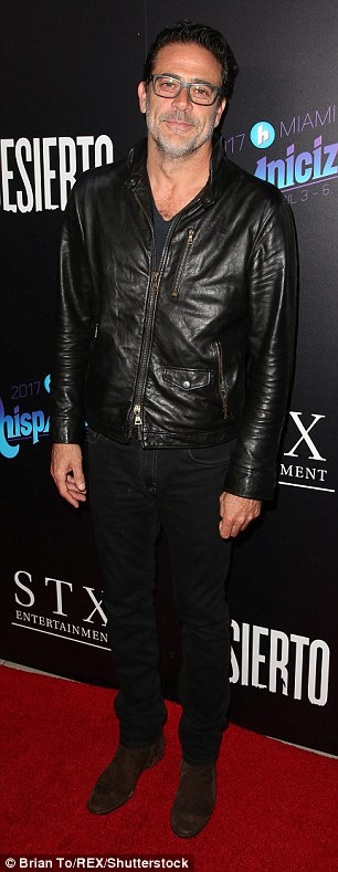 Man in Black: The actor wore a leather jacket as he stopped by the Desierto film premiere in Los Angeles on Tuesday