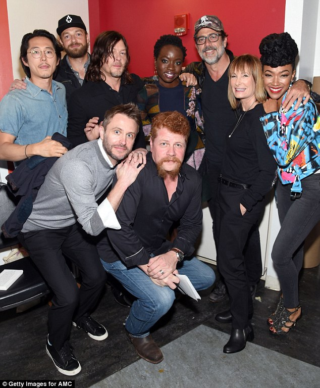 Not dead yet: From left to right, Steven Yeun, Ross Marquand, Norman Reedus, Chris Hardwick, Michael Cudlitz, Danai Gurira, Jeffrey, producer Gale Anne Hurd and Sonequa Martin-Read at Comic-Con on Friday