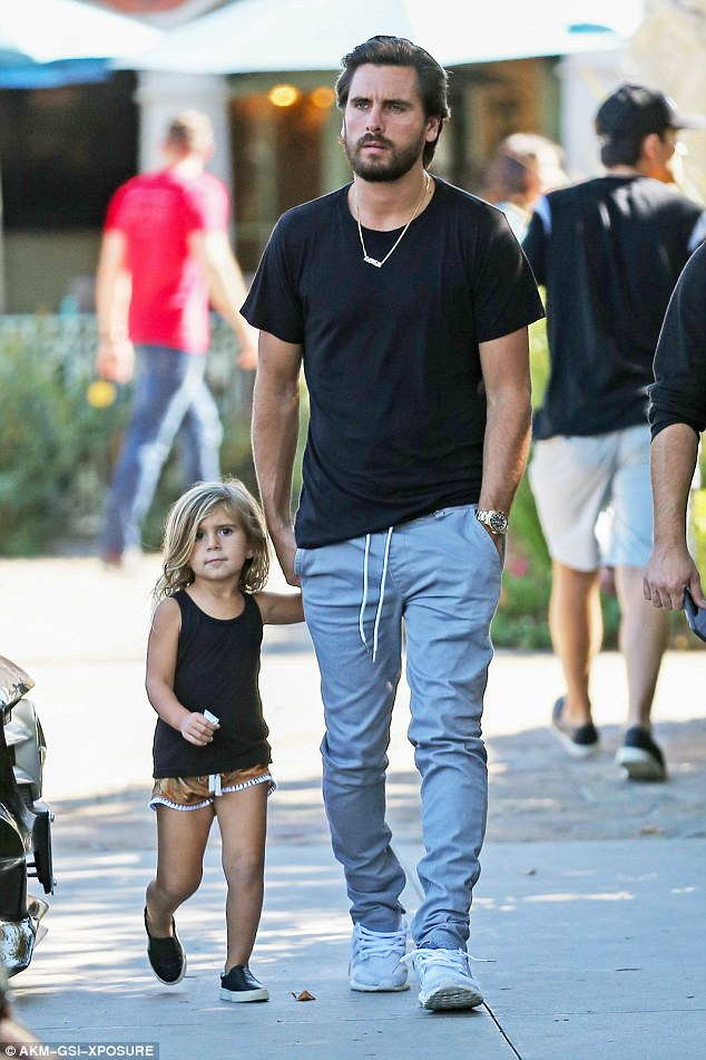 Dad time: Kourtney's ex Scott Disick was spotted out with their daughter Penelope as they headed to lunch in Calabasas on Tuesday