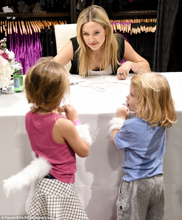 Young fans: The actress talked to some young fans at the event