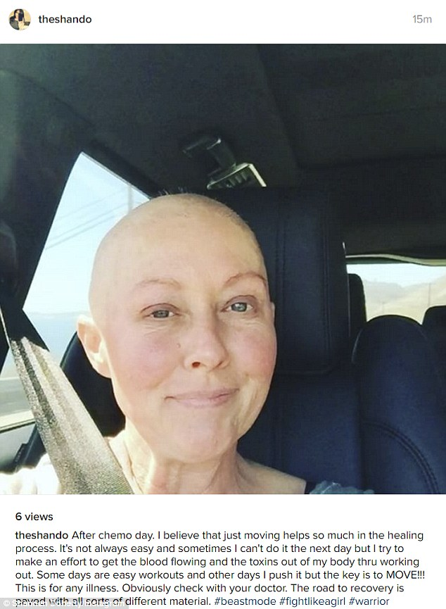 Fighting mode: The former Beverly Hills, 90210 star has been fighting the good fight with healthy fruits and veggies and workouts even after chemotherapy