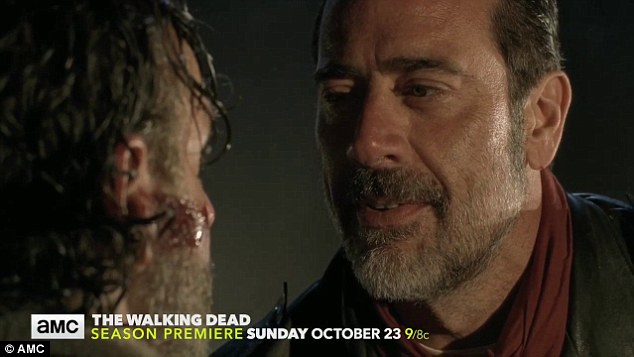 Man down: Negan mocks Rick in the scene, asking if he had just killed his 'right hand man' - suggesting the victim was male.