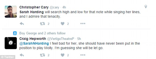 Unimpressed: Venting their spleen on the social media site, several theatre-goers were left rather underwhelmed by the production - and, crucially, Sarah's vocal ability