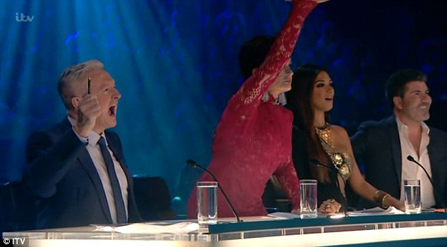 OTT? She appeared to draw the most attention among viewers as she sat with fellow show judges (l-r) Louis Walsh, Nicole and Simon Cowell