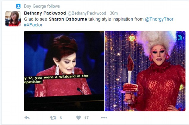 Uncanny: One Twitter user implied that Sharon looked strikingly similar to a drag queen