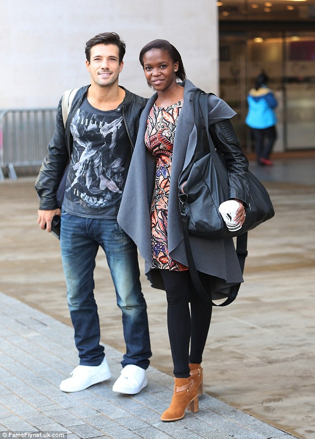 On air: Danny Mac and his dance partner Oti Mabuse were seen arriving at the BBC studios for a chat on Nick Grimshaw's Breakfast Show