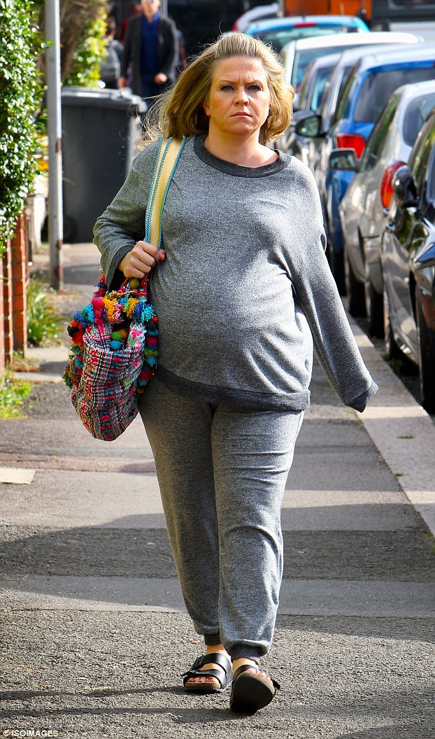 Not long to go: Kellie Bright has been taking it easy during her pregnancy so far, looking the picture of health when she stepped out in North London on Sunday