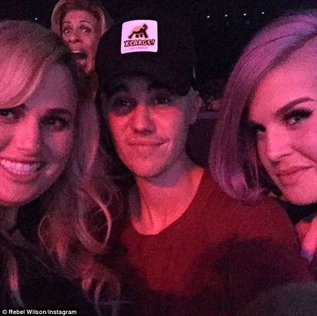 'I run into him a lot!'Rebel was asked if she knew Justin (centre, with Kelly Osbourne, R) and she said they see each other regularly