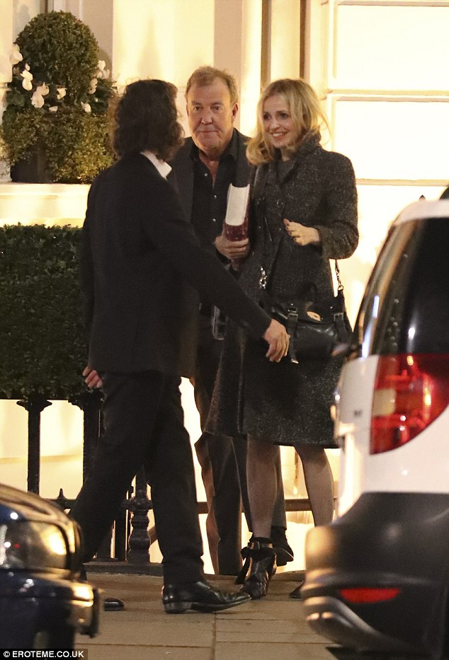 Night out: Jeremy Clarkson enjoyed a night out in London on Tuesday, visiting private members club Albert Club with pretty journalist Charlotte Edwardes