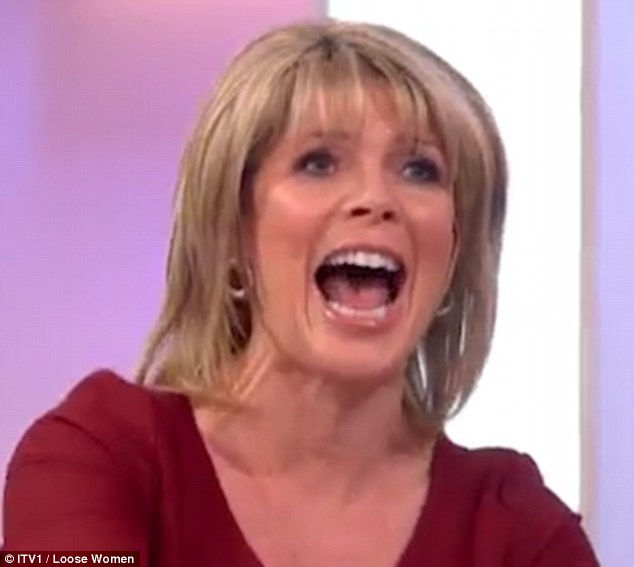 Leaving NOTHING to the imagination:Ruth Langsford  acted out a steamy romp with husband Eamonn Holmes in front of the shocked panel during Wednesday's Loose Women