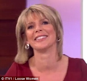 Too much? Ruth looked rather embarrassed after she acted out the steamy romp on live TV