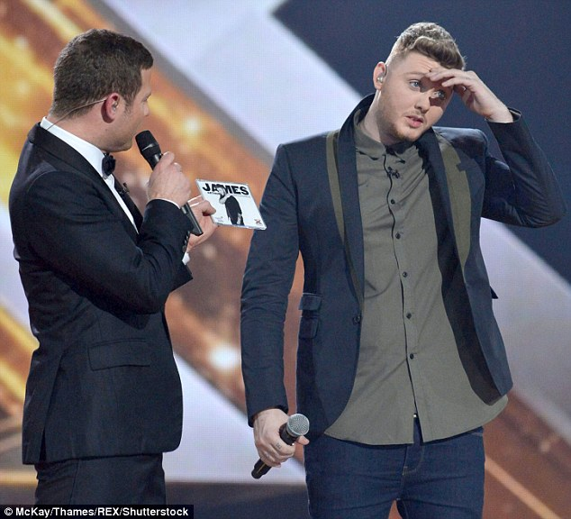 Triumph: James, pictured back in 2012 after being informed of his X Factor victory