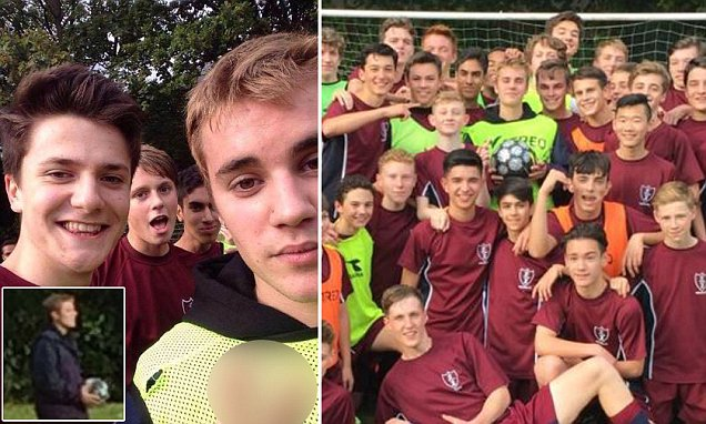 World-famous popstar, 22, drops in for a kickabout with London schoolchildren