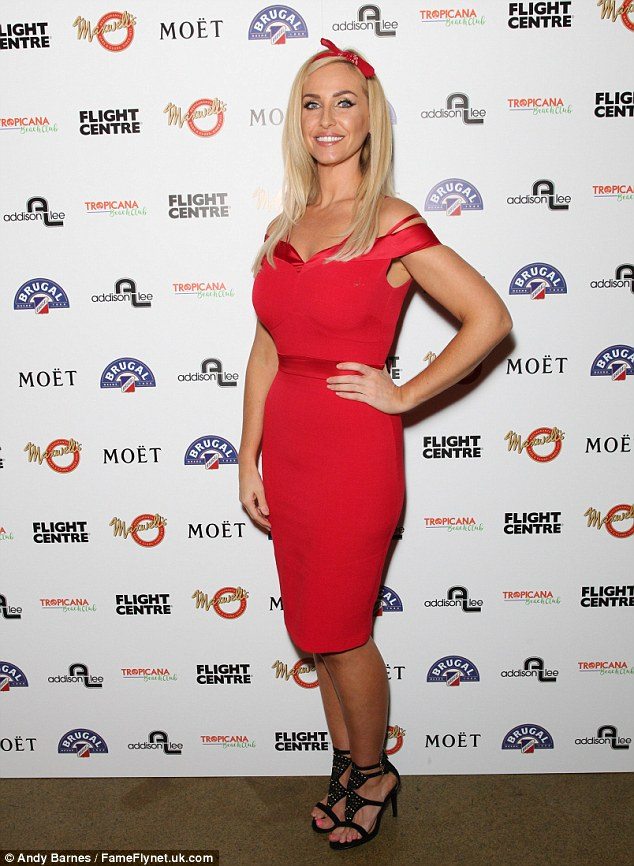 Lady in red:Josie Gibson rather unusually teamed her sleek scarlet dress with a red retro headband