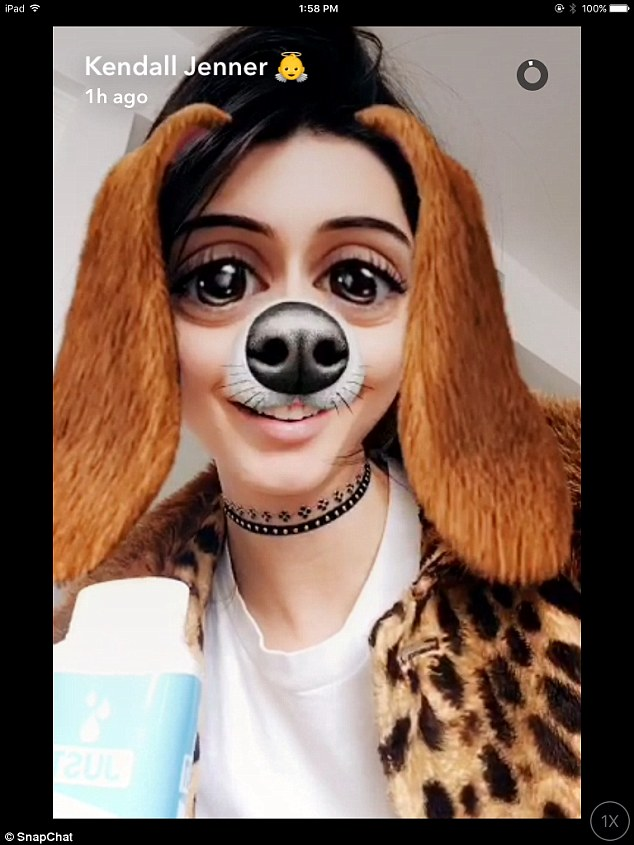 Back to old habits: The star also Snapchatted using some dog filters