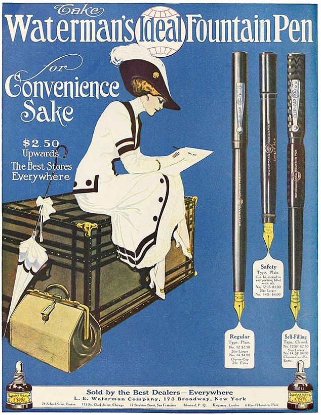 Pricey: Poster advertising retro Waterman fountain pen for $2.50 in the US