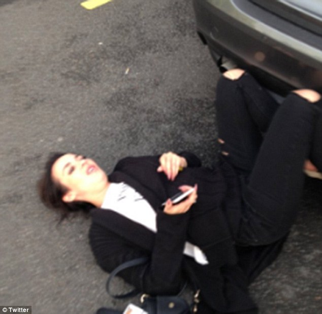 Shocking: Stephanie has reportedly been left 'traumatised' and 'shaken' after being assaulted in a car park in Liverpool. The images were then shared on Twitter by her alleged attacker