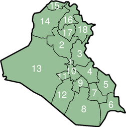 Iraqi Governorates (numbered).png