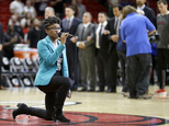 Denasia Lawrence sings the national anthem before an NBA preseason basketball game between the Miami Heat and the Philadelphia 76ers, Friday, Oct. 21, 2016, in Miami. (AP Photo/Alan Diaz)
