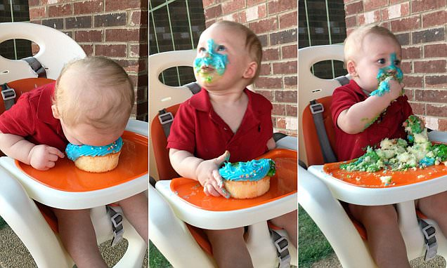 Baby smashes his FACE right into the icingof his first birthday cake