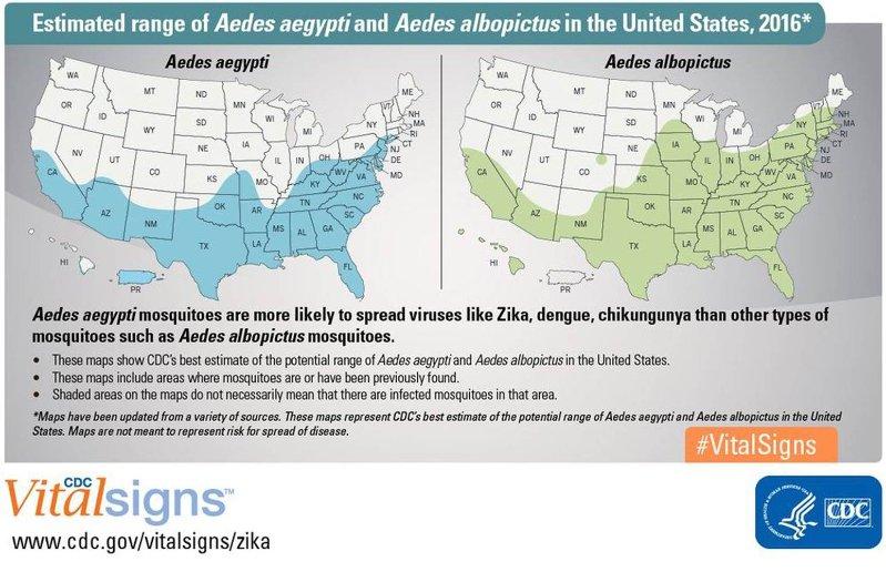Estimated range of Aedes aegypti and Aedes albopictus in the U.S., 2016