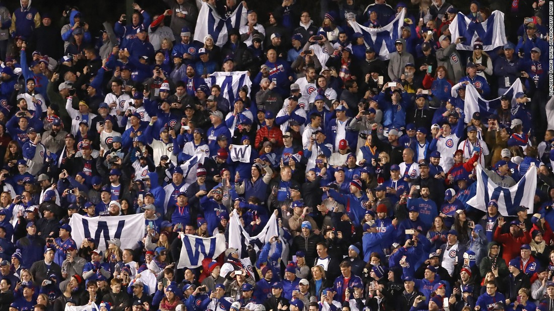 Fans celebrate after the Chicago Cubs win in Game 5.