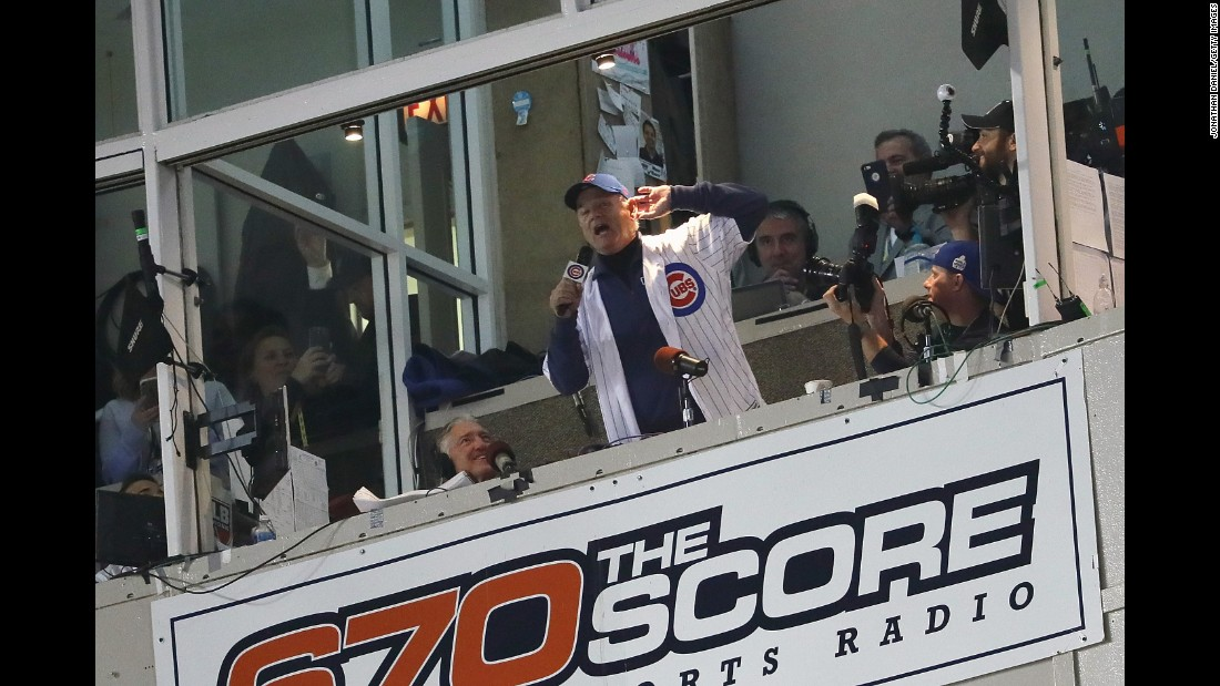 """Actor Bill Murray sings """"Take Me Out to the Ball Game"""" during the seventh inning stretch in Game 3."""