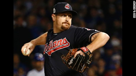 Cleveland Indians relief pitcher Bryan Shaw throws during the seventh inning of Game 3 of the Major League Baseball World Series against the Chicago Cubs, Friday, Oct. 28, 2016, in Chicago. (AP Photo/Nam Y. Huh)