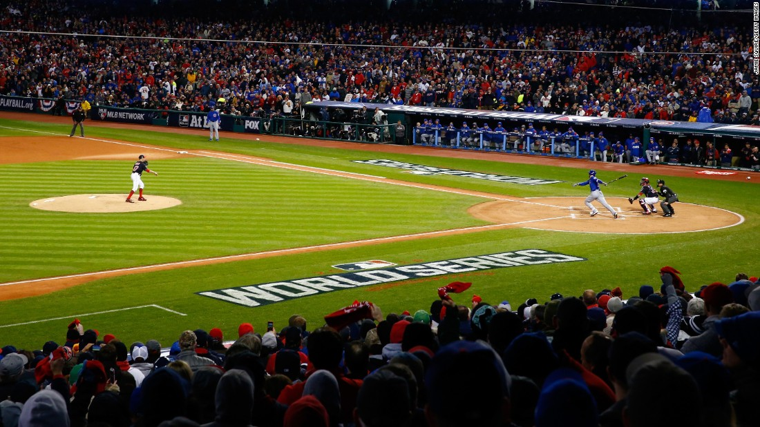 Kris Bryant of the Cubs hits a single during the first inning in Game 2.