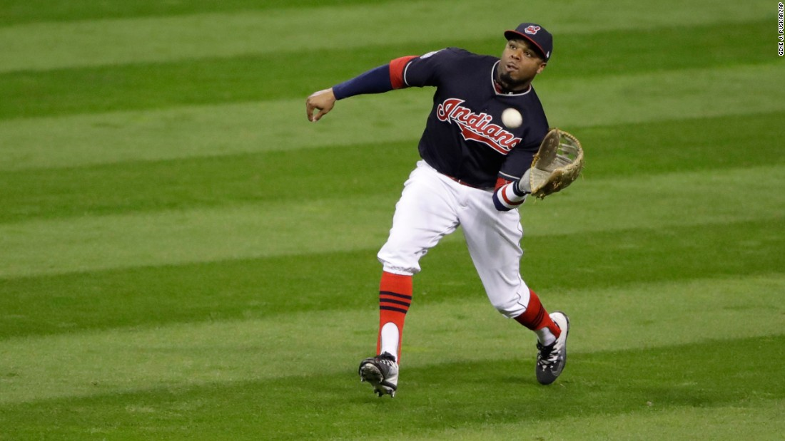 Cleveland outfielder Rajai Davis catches a ball hit by the Cubs' Willson Contreras in Game 1.