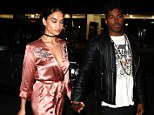 West Hollywood, CA - Shanina Shaik and DJ Ruckus hold hands as they arrive at Delilah's for Kendall Jenner's 21st Birthday Party.  Shanina wore a sexy pink silk kimono inspired dress for the evening. AKM-GSI      November 2, 2016 To License These Photos, Please Contact : Maria Buda (917) 242-1505 mbuda@akmgsi.com sales@akmgsi.com Mark Satter (317) 691-9592 msatter@akmgsi.com sales@akmgsi.com www.akmgsi.com