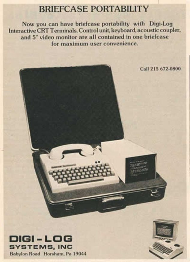 Handy? In 1976, this chunky briefcase was the equivalent of the modern laptop, complete with tiny screen