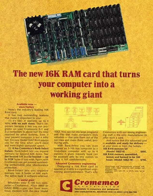 Giant? This RAM card from 1977 was fast for its time, but had 30,000 times less power than the latest iPhone