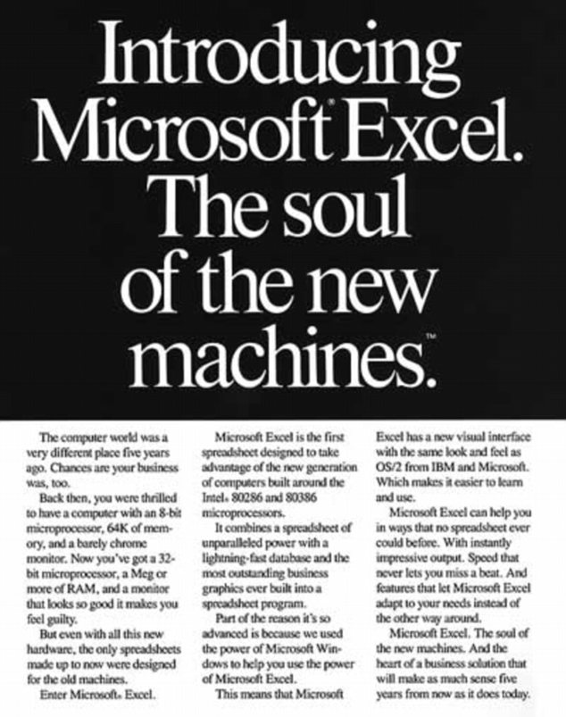 Groundbreaking: This advert for Microsoft Excel predicts that the programme will still be useful in five years... and it was 25 years ago