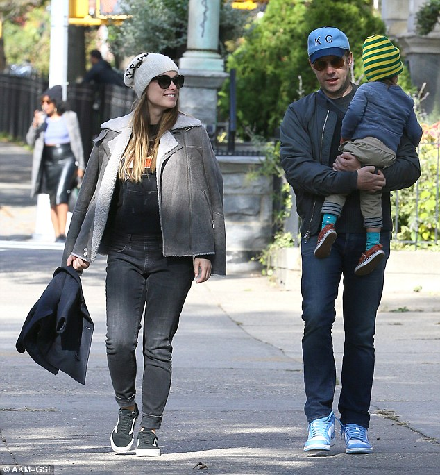 Three of a kind: Perhaps Olivia Wilde and fiance Jason Sudeikis simply needed a break from caring for an infant when they stepped out with only two-year-old son Otis on Saturday