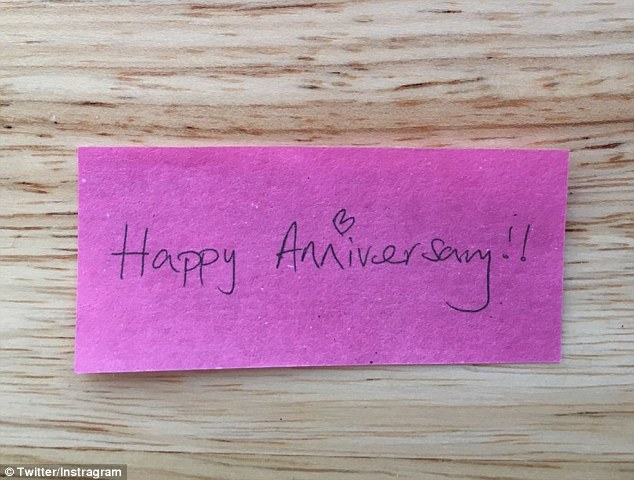 Heartwarming: Simon switched things up by including special pink notes with messages including, 'I love you', 'You are an angel' and 'Happy anniversary'