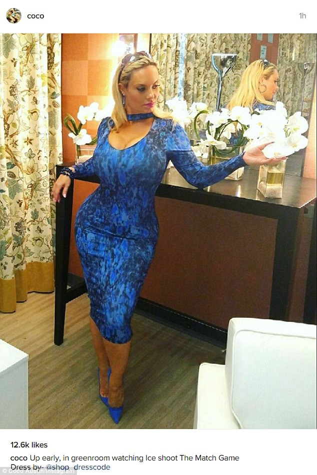 Looking blue: Cocowas as curvy and bodacious as ever as she watched husband Ice-T shoot The Match Game Saturday morning