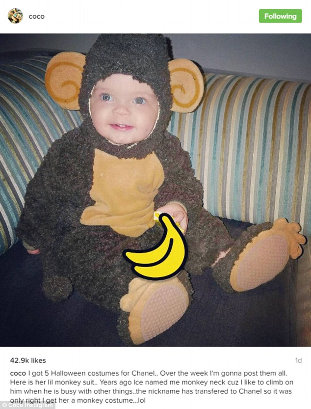 Monkey business: Coco shared one of Chanel's five costumes with her 2.6 million Instagram followers