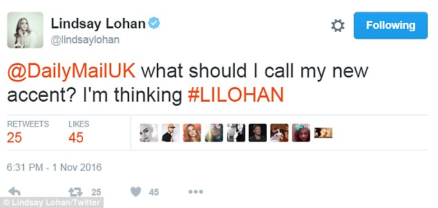 Fluent in LilLohan:While some fans claimed it was a mix of everything from Australian with Turkish to Greek with Saudi Arabian, Lindsay joked on Twitter with the DailyMail.com that her accent should have its own name