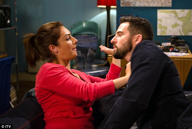 Cheeky: Ross - played by Michael Parr - challenges Victoria (Isobel Hodgins) to tell her husband Adam about the kiss